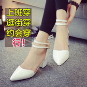 2015 spring and summer styles pointed thick with Roman sandals in baotou with Korea Sandals white lateral women shoes