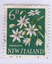New Zealand early stamps & rsquo; Flowers 6 p letter pin - A77
