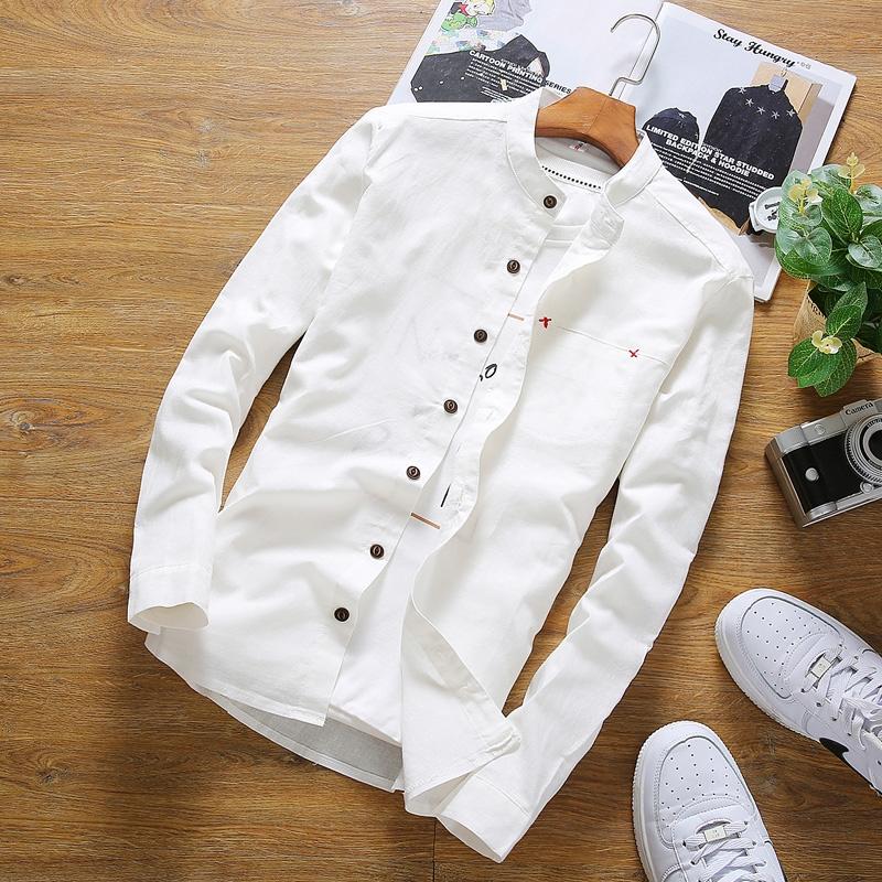 男士立領純色青少年襯衫