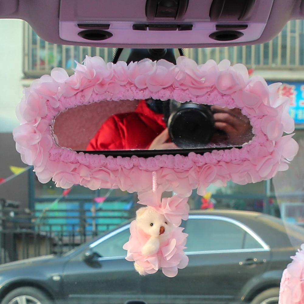 汽車後視鏡套 可愛卡通蕾絲倒車鏡套 觀後鏡套 女車載內飾套裝