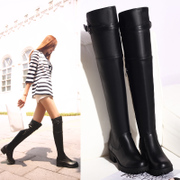 2015 new European head of black crude in autumn and winter with over the knee boots women''''''''s motorcycle boots high boots warm boots