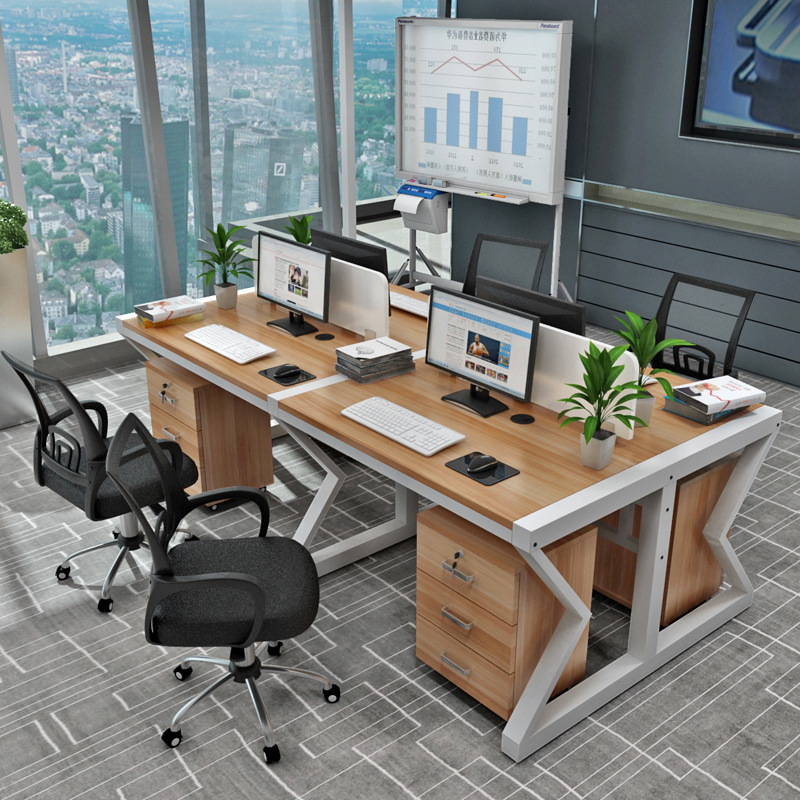 簡約辦公桌員工多人屏風隔斷 職員工 4 6人位工作桌椅