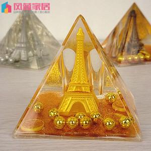 金粉铁塔入油水晶 巴黎埃菲尔铁塔 学生礼品摆件 生日礼物摆件