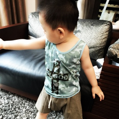 2015 summer boy blue camouflage small vest