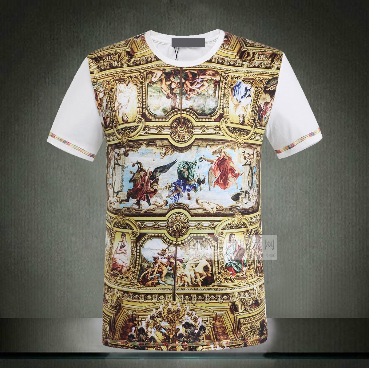 Римская мозаика в стильной моды печати мужчин круглый шеи короткий рукав футболки 2014 НОВЫЙ ЧЕЛОВЕК ЛЕТОМ