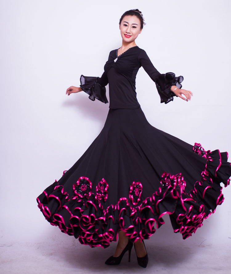 Высококачественный горячей современный танец юбка платить дружба танец кадриль гигабайт танец новый юбка большие качели практика платье тонкий