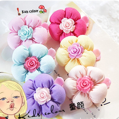韩版儿童发头饰品 宝宝布艺塑料发卡抓夹 批发山茶花苞边夹发夹