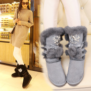 Suede leather snow boots winter boots and cashmere warm cotton boots flat boots with non-slip flat snow boots