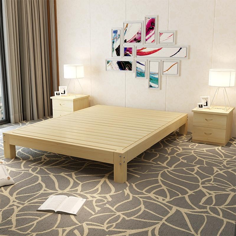 ��木床1.8米1.2m1.5�p人榻榻米床主�P松木��s�F代���型�和��稳�