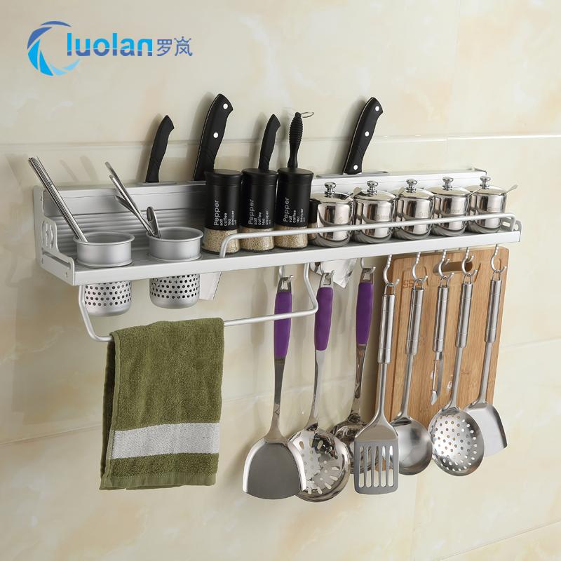 Space aluminum kitchen shelf wall hanging storage kitchenware pendant supplies storage utensils knife rest seasoning shelf 2 layers