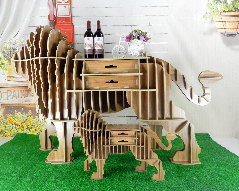 North American lion solid wood bookshelf new animal modeling ornaments clothing store model room floor creative furniture