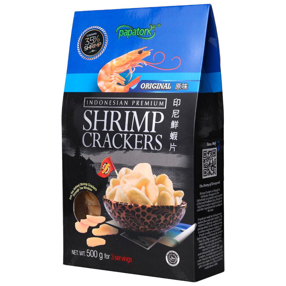 ~天貓超市~印尼 啪啪通鮮蝦片原味500g 零食品(需油炸)