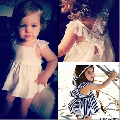 Han edition foreign trade children's clothes in the summer of 2015 with the European and American white lace vest skirt of the girls Pure cotton dress