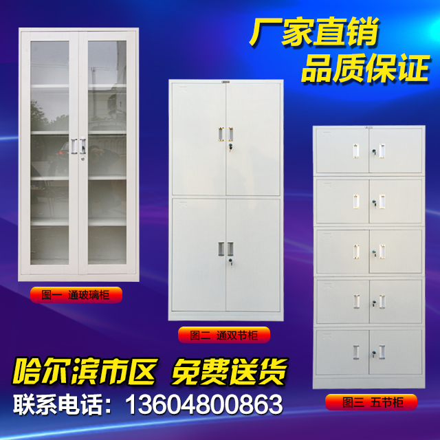哈尔滨文件柜分体五节档案柜玻璃铁皮柜更衣柜加厚带锁办公家具