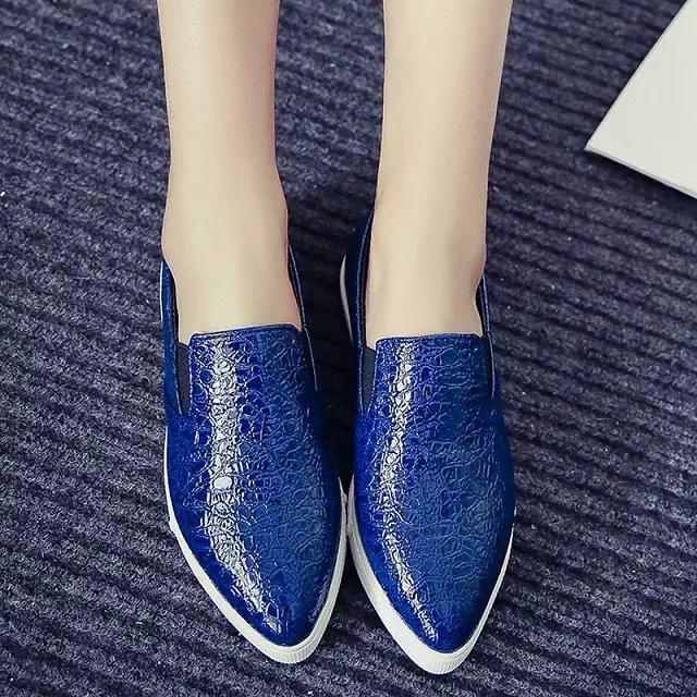 Европа 2015 Весна Обувь змея кожи Повседневная обувь заостренный обувь низкой отрезока женщин обувь когда простой человек обувь