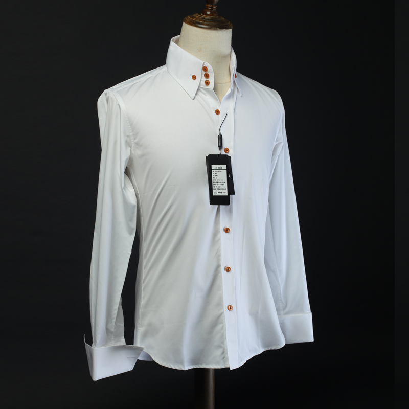 British slim formal mens super high collar three button pure white shirt slim French cuffs high count easy to wear shirt