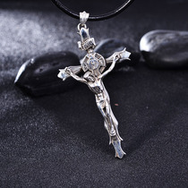 s925 Silver jewelry Retro Thai silver great Jesus Cross necklace pendant mens jewelry tide male Pendant