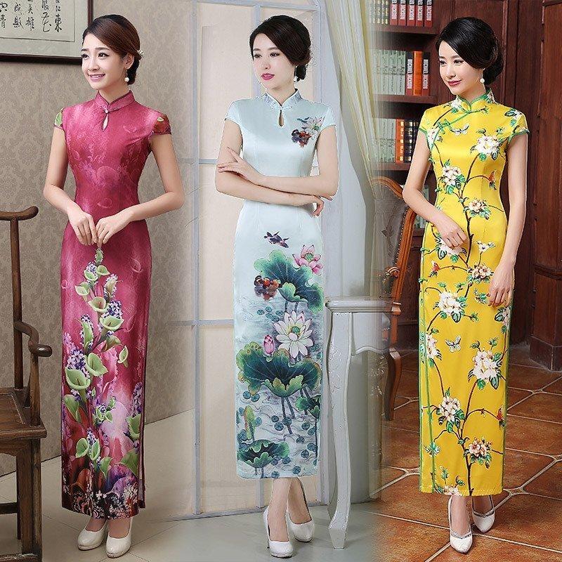 Cheongsam 2017 новый весенний и осенний сбор. мода улучшение китайский стиль ретро длинная модель cheongsam платье праздник может церемония инструмент платья