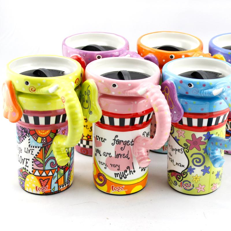 仟度彩繪大象杯 可愛動物馬克杯帶蓋帶勺陶瓷咖啡杯 情侶水杯