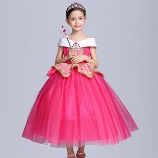 爱洛公主长款 裙女童睡美人蓬蓬连衣长裙礼服装 冰雪奇缘艾莎迪士尼