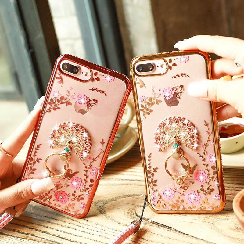 蘋果7plus手機殼女款掛脖掛繩水鑽韓國iPhone7 奢華防摔矽膠7p