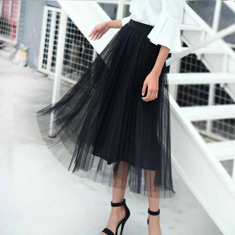 可乐衣 网纱百褶半身裙