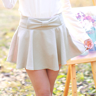 Maykii Mei Qi 2014 spring and summer new Japanese sweet bow solid color culottes skirt