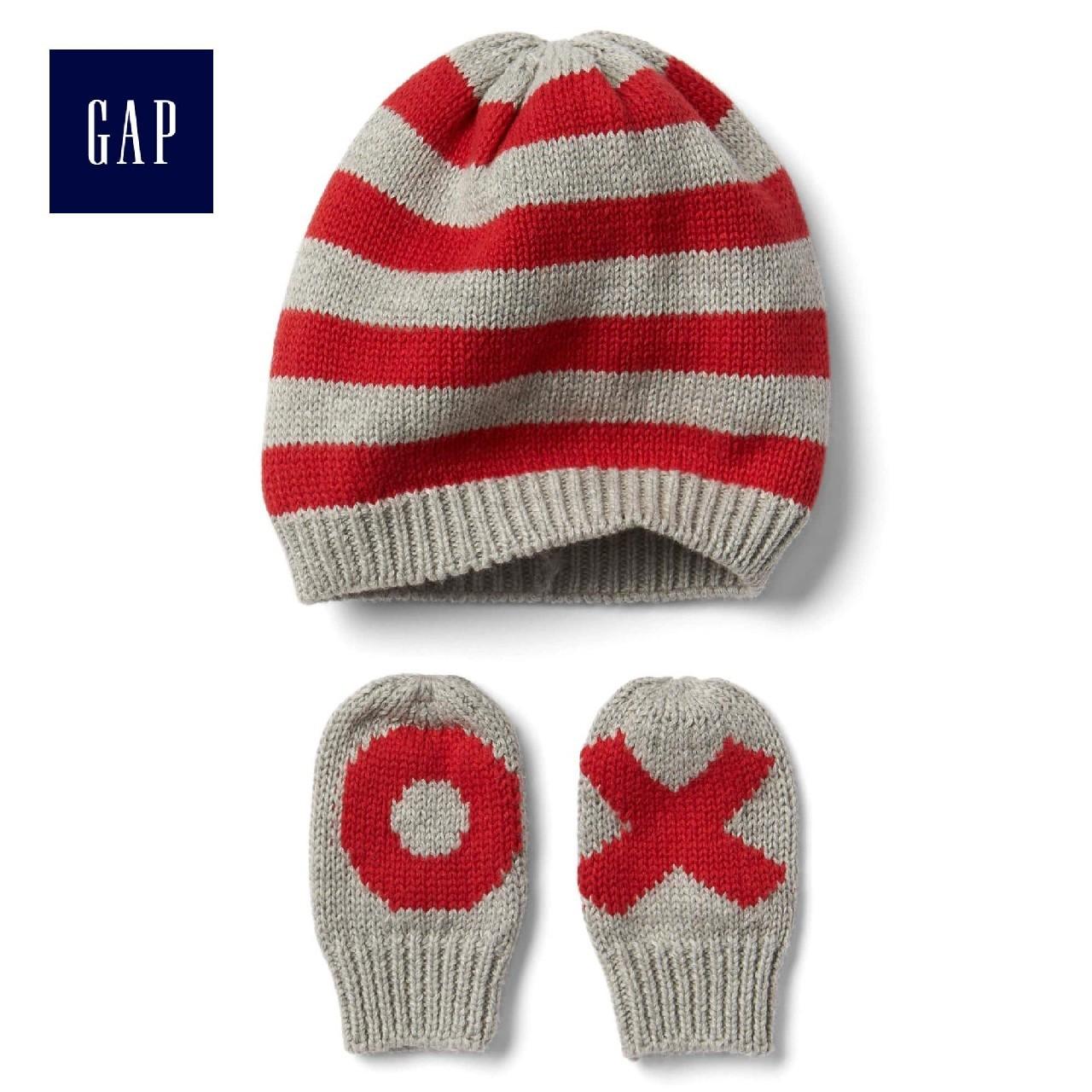 Gap мужчина ребенок хлопок милый полоса шляпа против перчатки установите 332296