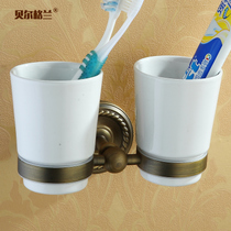 Full copper mouthwash cup rack toothbrush cup set ceramic cup bathroom hardware bathroom shelf non-glass