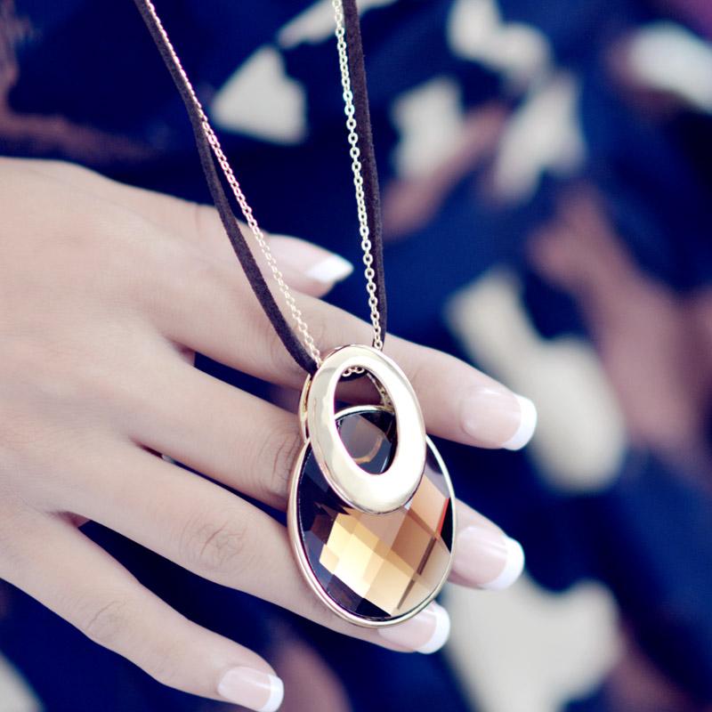 Ювелирные изделия двойной эллипс свитер цепи длинное ожерелье украшения Аксессуары женщины осень Серебряный клевер Кристалл украшения цветок