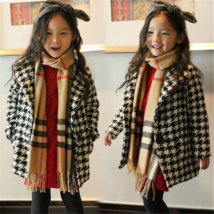 Z Одежда зимняя одежда девушки плюс толстые шерстяные пальто шерсти и длинное пальто зимние 2014 детей 3-8 o
