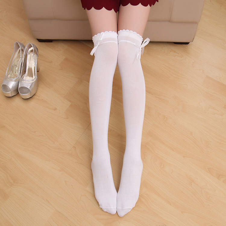 Student womens soft girl white knee stockings Japanese stockings Lolita Lolita Lolita socks spring and Autumn