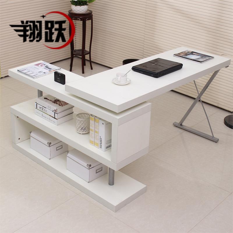 旋轉電腦桌簡約 台式辦公桌 書桌書架 家用寫字台轉角桌子