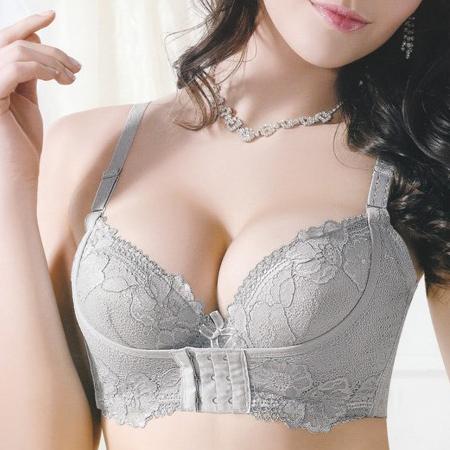 Лу Вэй дай подлинное женское белье бюстгальтер собрал и регулируемые проложенные маленькая грудь эфирного масла и мешки бюстгальтер сексуальный глубокий v Передняя застежка