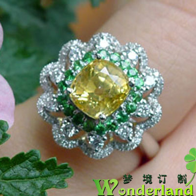 Natural Yellow Gold Sapphire corundum color Gem Ring 18K platinum diamond set womens spot