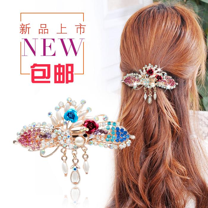 韩版孔雀花朵珍珠水钻发卡头饰发夹饰品马尾夹横夹发饰弹簧夹大号