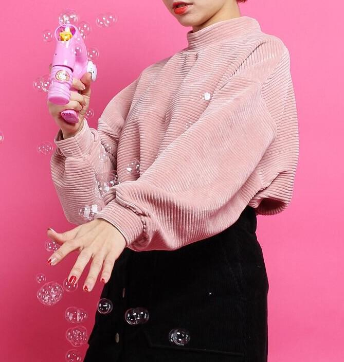 Весна 2016 новый стиль моды свободные японские Барби розовый половинной высоты шеи твердых вельвет bat рукав свитера