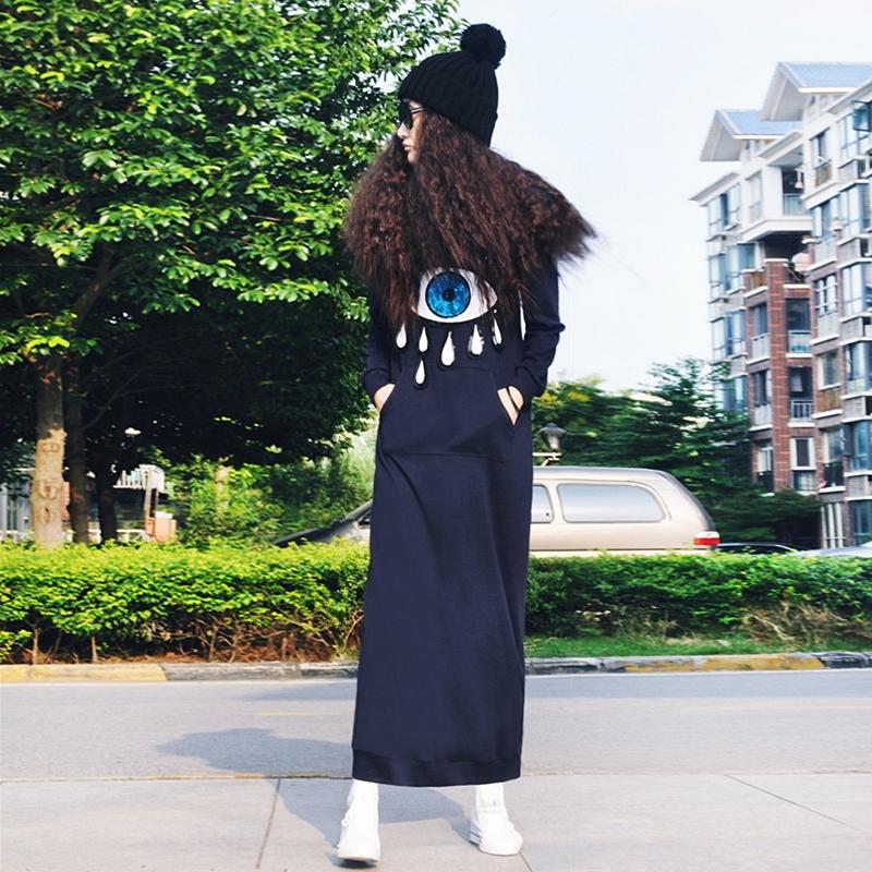春季女连帽加绒亮片大眼睛套头宽松显瘦长袖连衣裙长款卫衣超长裙