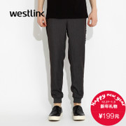 Westlink/West fall 2015 new tide letter knit elasticized waist your feet men's casual pants