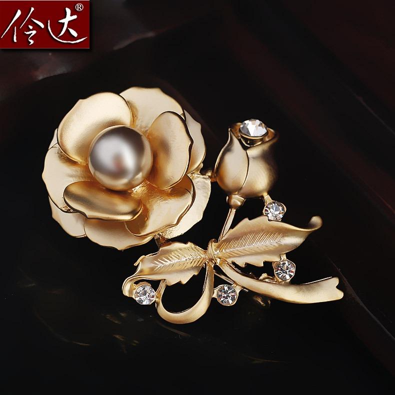 伶達飾品 複古啞光金色玫瑰花朵胸針胸花別針送女友生日
