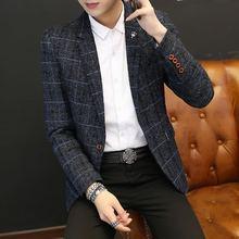韩版西服外套单件上衣时尚春秋小西装修身潮流帅气青年休闲西装男