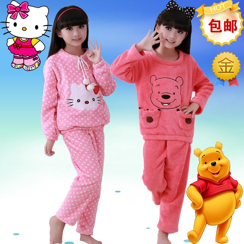 Зимние мягкий ребенка коралловые флис длинные фланелевой пижамы для детей девочек одежда костюмы ребенка дети