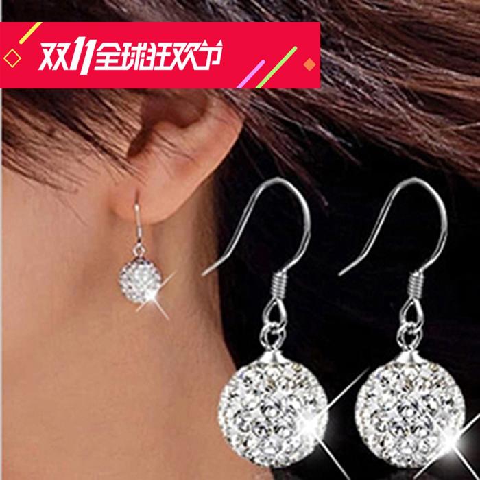 925純銀耳釘 韓國飾品銀飾女氣質日韓耳飾耳墜長款水晶耳環防過敏