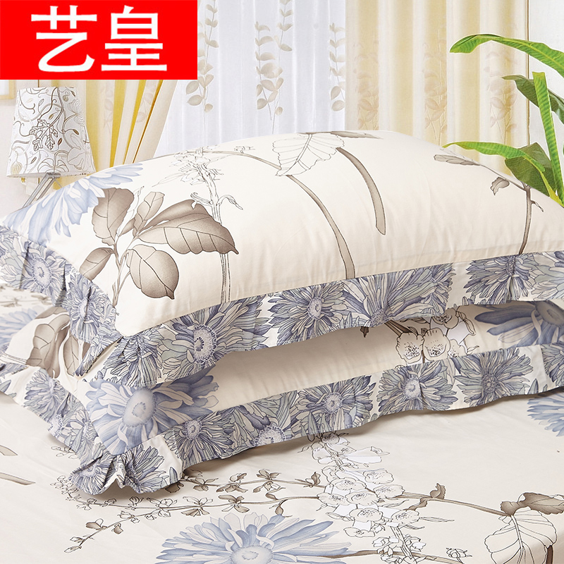 藝皇純棉卡通花邊枕套一對裝48x74cm全棉床上用品單人學生枕頭套
