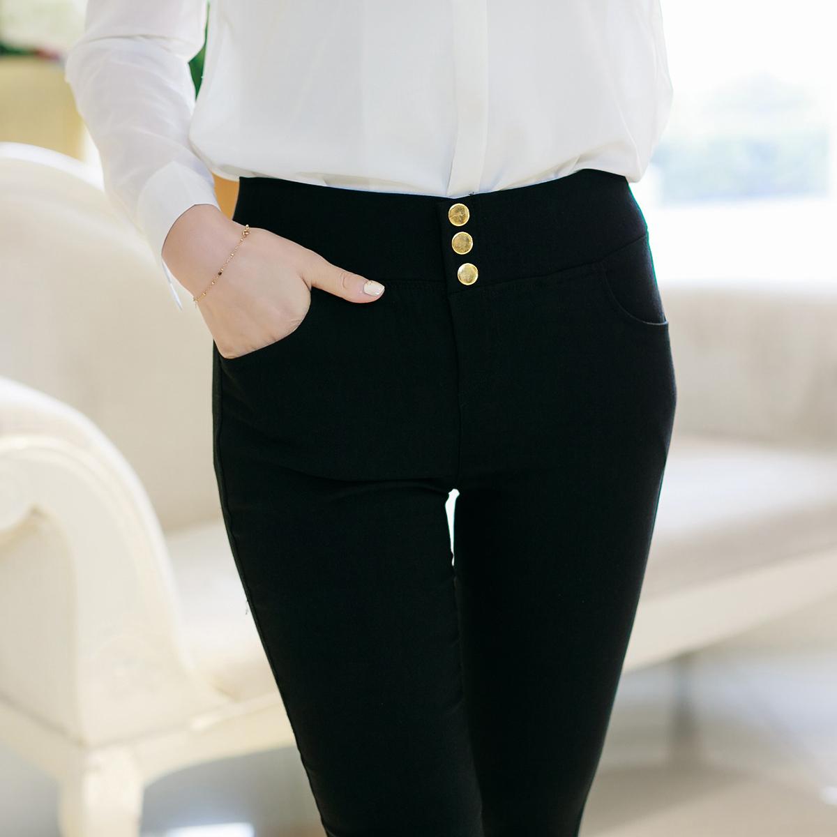 春 打底褲外穿女士長褲高腰大碼緊身褲女褲子小腳鉛筆褲