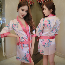 Ms package mail sexy kimono female bra set three point pajamas bathrobe lingerie human temptation
