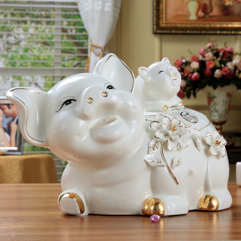 家装饰品工艺品陶瓷招财猪台面生肖电视柜客厅摆件家居旺铺摆设