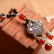 New myatou natural agate necklace Joker spring and autumn wealth locked ethnic Tibetan silver wind