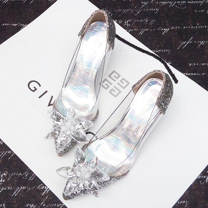 Fashion pointed water diamond high-heeled shoes elegant slim heel shoes new crystal sequins sexy evening dress womens shoes wedding shoes