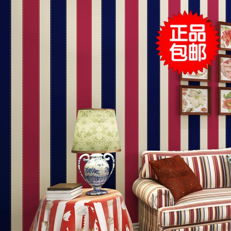 Британская мода средиземноморье обои мальчик дом спальня ретро белый и голубой вертикальная полоса ребенок дом фон стена стена бумага
